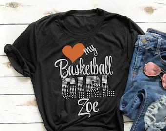 e6b134fbebf Basketball Mom GLITTER VINYL RHINESTONE Shirt with Custom Name