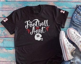 7516f7530 Football Aunt GLITTER VINYL Shirt