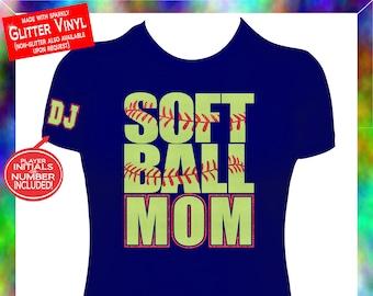 Softball Mom Shirt, Softball Mom GLITTER VINYL Shirt, Custom Softball Mom Shirt, Softball Mom Spiritwear