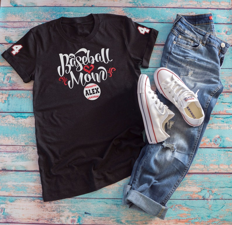 68283522688 Baseball Mom GLITTER VINYL Shirt Baseball Mom Plus Size