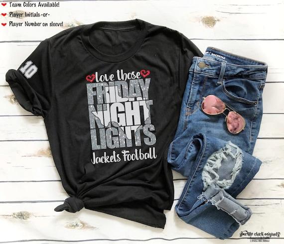 Football Mom T-Shirt Friday Night Lights and Stadium Lights Football T-Shirt Football Girlfriend T-Shirt