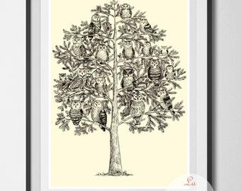 Owls art print, art print unframed, Owls poster, wall art, home decor, owl illustration, ink owls, ink drawing, gift for owl lovers