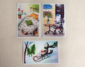Postcard Set, Cat postcards set, 3 Postcards for postcrossing, cat postcards, Paris cat, winter postcards, postcards for cat lovers