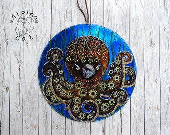 Octopus decor, sea decor, sea ornament, whimsical octopus, underwater world, hand painted CD, upcycled decor, marine decor, sea creatures