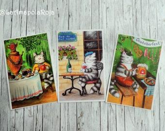Cat postcard set, Postcrossing postcards, cat postcard, cat in Paris, Oktoberfest card, wine lovers, cat lovers, travelling, Russian samovar