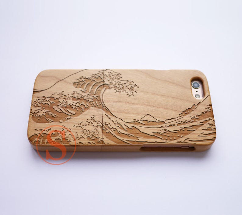 separation shoes 1588d 5f1be Wood iPhone 7 case, iPhone 7 Plus case, Wood iPhone 6 case, iPhone 8 case,  Carved Wood phone case, The Great Wave off Kanagawa, DK-46
