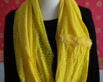 yellow stretch lace infinity scarf