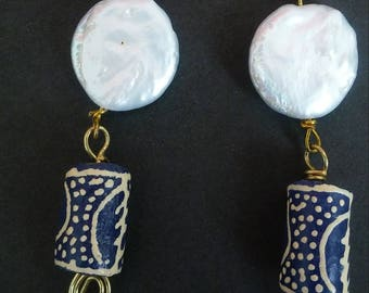 freshwater coin pearl earrings with African beads