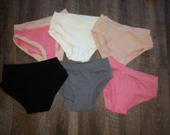 Women's Scrundlewear - Undies - Underwear - Custom XS S M L XL XXL - White - Organic Cotton Stretch Knit - Bamboo French Terry Panties Panty