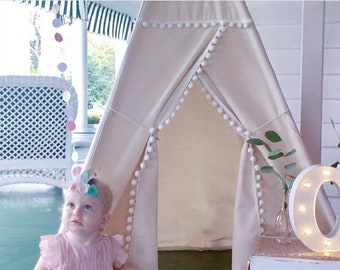 ready to ship L Pompom teepee without window kids Teepee, tipi, Play with nature canvas and Overlapping front doors