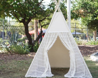 Pocahontas teepee with window, kids teepee with window with ruffled lace and pompom trim, kids play tents, girls lace Tipi