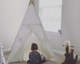 Original Pompom teepee, white teepee, kids Teepee, tipi, Play tent, wigwam or playhouse with canvas and Overlapping front doors