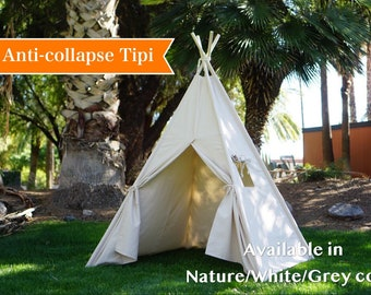 Teepee plain with window, kids Teepee with nature canvas and Overlapping front doors