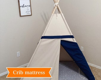 Two tone crib mattress teepee, tent bed canopy, teepee canopy for bed, kids Teepee in canvas and Overlapping front doors