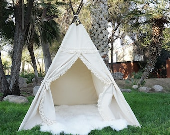 XL/XXL Boho teepee, 8ft kids Teepee, large tipi, Play tent, wigwam or playhouse with canvas and Overlapping front doors