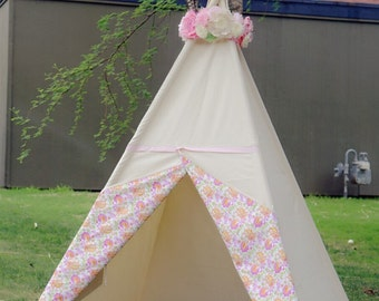 Blossom canvas kids Teepee tent/ Limited Edition from TucsonTeepee