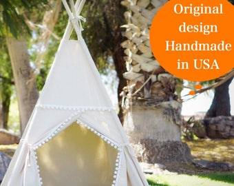 Pompom teepee with whole piece wood poles, kids Teepee, tipi, Play tent, wigwam or playhouse with canvas and Overlapping front doors
