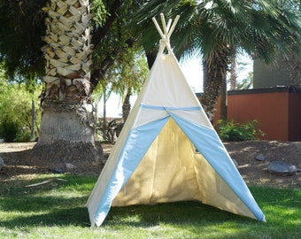 Ready to ship Two-tone large canvas kids teepee with a side window
