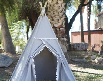 Ready to ship Pompom canvas kids teepee/canvas Play tent / Tipi with overlapping front doors