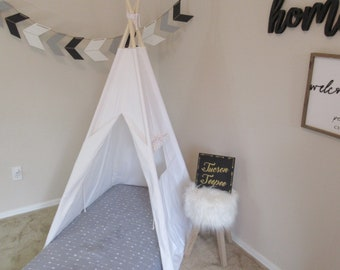 CANOPY 36'' kids Teepee for toddler mattress in white canvas/ canvas Play tent / Tipi Wigwam or Playhouse with door Ties
