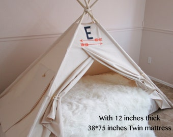 Plain Bed canopy teepee with secret door, tent bed canopy, teepee canopy for bed, kids Teepee,with canvas and Overlapping front doors
