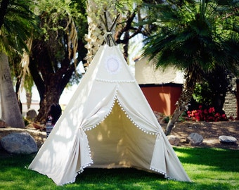 XL/XXL  Vintage teepee, beach teepee, 8ft kids Teepee, large tipi, Play tent, wigwam or playhouse with canvas and Overlapping front doors