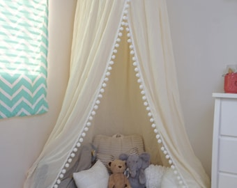 Pompom Play canopy in ivory cotton / hanging tent/ hanging canopy