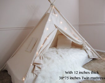 Plain Bed canopy teepee with flap window, tent bed canopy, teepee canopy for bed, kids Teepee,with canvas and Overlapping front doors
