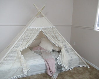 Pocahontas lace bed teepee, tent bed canopy, teepee canopy for bed, kids Teepee, tipi, Play tent with canvas and Overlapping front doors