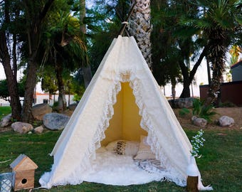 XL/XXL Amor lace teepee, 8ft kids Teepee, wedding tent, large tipi, Play tent, wigwam or playhouse with canvas and lace