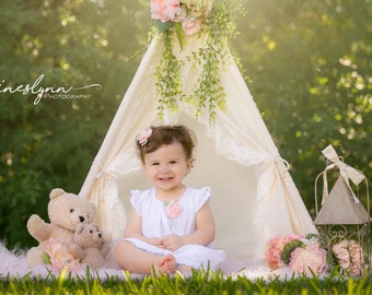 Shabby-chic teepee with lace trim /photo prop tent / Kids play tent/ baby teepee photo prop