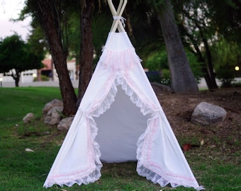 White shabby-chic lace teepee tent/ white canvas and pink lace kids Play tent/ girls canvas & lace Tipi ruffle photo pro