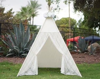 Misty lace teepee, kids Teepee, tipi, Play tent, wigwam or playhouse with canvas base