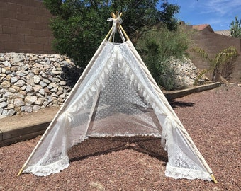 XL/XXL Lace Event teepee, 8ft pole wedding Teepee, adult teepee, wide open front teepee, teepee for adult, beach tent