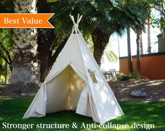 Plain teepee with whole piece wood poles, kids Teepee with nature canvas and Overlapping front doors