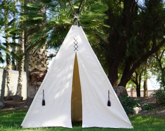 XL/XXL original teepee, 8ft pole kids Teepee, large tipi, Play tent, wigwam or playhouse with canvas and leather tassel Door Ties