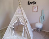 Vintage teepee, kids Teepee, tipi, Play tent, wigwam or playhouse with canvas and Overlapping front doors