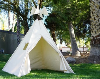 XL/XXL plain teepee, 8ft pole kids Teepee, beach tent, large tipi, Play tent, wigwam or playhouse with canvas and Overlapping front doors