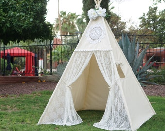 Vintage lace teepee tent with nature canvas/kids Play tent/ girls lace Tipi Wigwam or Playhouse prop tent