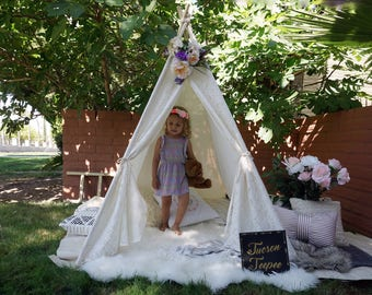 Breezy lace teepee, kids Teepee, tipi, Play tent, wigwam or playhouse with cotton and lace door flap