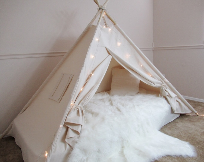Featured listing image: Plain Bed canopy teepee with flap window, tent bed canopy, teepee canopy for bed, kids Teepee,with canvas and Overlapping front doors
