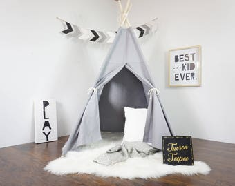 kids room teepee house grey teepee kids teepee tipi play tent wigwam or playhouse with canvas and overlapping front doors kids teepee tent etsy