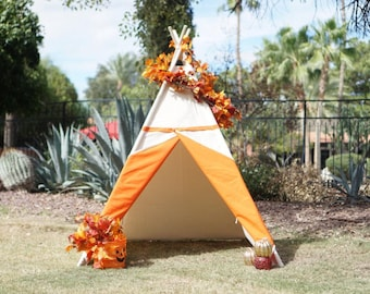 Ready to ship Two-tone large canvas kids teepee orange lining with a side window