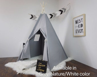 Teepee Grey with window, kids Teepee with nature canvas and Overlapping front doors