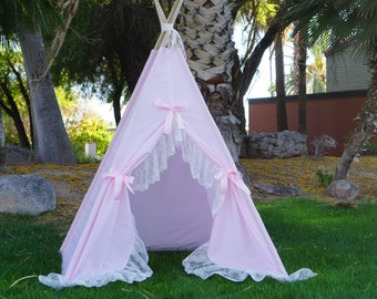 Pinkalicious lace teepee, kids Teepee, tipi, Play tent, wigwam or playhouse with extra long ruffle