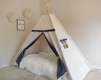 Two tone Bed teepee with higher standing room,  tent bed canopy, kids teepee bed, tent bed canopy