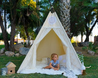 XL Vintage lace teepee, 8ft kids Teepee, wedding tent, large tipi, Play tent, wigwam or playhouse with canvas and lace