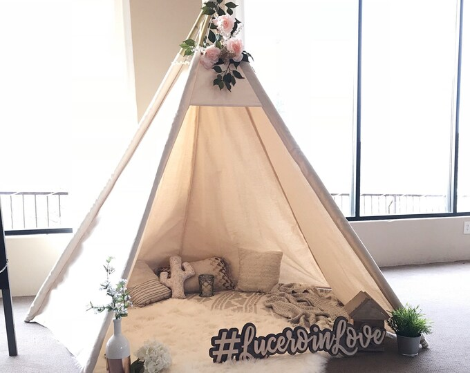 Featured listing image: XL/XXL event teepee, 8ft wedding Teepee, adult teepee, wide open front teepee, teepee for adult, beach tent, large tipi, in nature canvas