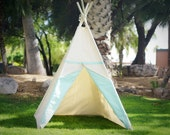 Two-tone canvas kids teepee kids play tent canvas Tipi with overlapping front doors