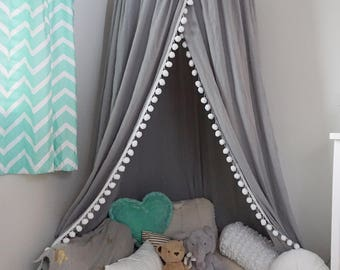 Pompom Play canopy in silver cotton / hanging tent/ hanging canopy